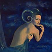 Aries From Zodiac Series Art Print by Dorina  Costras