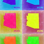 Arizona Pop Art Map 4 Art Print