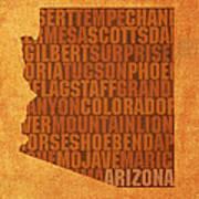 Arizona Word Art State Map On Canvas Art Print