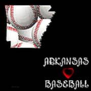 Arkansas Loves Baseball Art Print by Andee Design