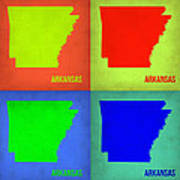Arkansas Pop Art Map 1 Art Print by Naxart Studio