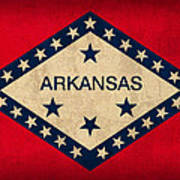 Arkansas State Flag Art On Worn Canvas Art Print by Design Turnpike