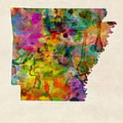 Arkansas Watercolor Map Art Print