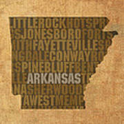 Arkansas Word Art State Map On Canvas Art Print