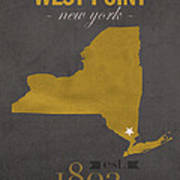 Army Black Knights West Point New York Usma College Town State Map Poster Series No 015 Art Print