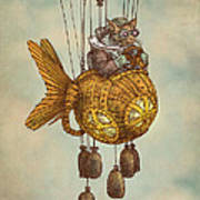 Around The World In The Goldfish Flyer Art Print
