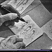 Art Homage Ted Degrazia Pen Ink Drawing  On Camera Kvoa Tv Studio January 1966 Screen Capture Art Print