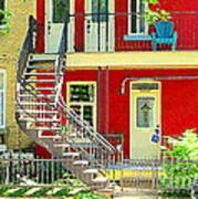 Art Of Montreal Upstairs Porch With Summer Chair Red Triplex In Verdun City Scene C Spandau Art Print