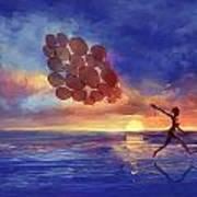 Art The Sea  A Girl Balloons Running Art Print