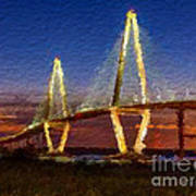 Arthur Ravenel Bridge At Evening  Art Print