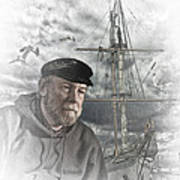 Artistic Digital Image Of An Old Sea Captain Art Print