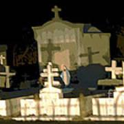 Louisiana Midnight Cemetery Lacombe Art Print