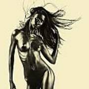 Artistic Nude Of Young Woman Beige Background Art Print
