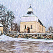 Artistic Presentation Of #svinnegarns #kyrka #church Of #svinnegarn March 2014 Viewed From The Parki Art Print