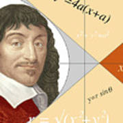 Artwork Of Rene Descartes With Equations And Lines Art Print