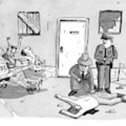 As Police And A Detective Examine A Murder Scene Art Print