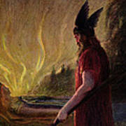 As The Flames Rise Odin Leaves Art Print