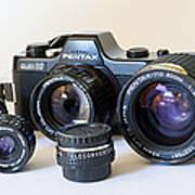Asahi Pentax Auto 110 Mini Camera And Lenses Print by Melany Sarafis