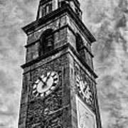 Ascona Clock Tower Bw Art Print