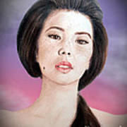 Asian Beauty Fade To Black Version Art Print