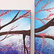 Asian Bloom Triptych 1 2 Art Print