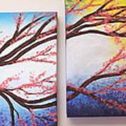 Asian Bloom Triptych 2 3 Art Print