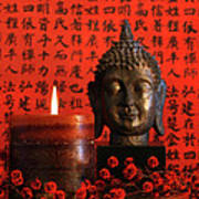 Asian Candle With Red Orential Background Print by Sandra Cunningham