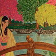 Asian Girl On Bridge  Art Print