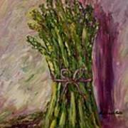 Asparagus Wrapped In A Bow Art Print by Barbara Pirkle