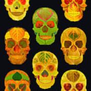 Aspen Leaf Skulls Poster 2014 Black Art Print