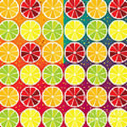 Assorted Citrus Pattern Art Print