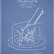 Astronomical Telescope Patent From 1943 - Light Blue Art Print