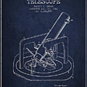 Astronomical Telescope Patent From 1943 - Navy Blue Art Print