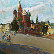 At The Cathedral Of Vasily The Blessed Art Print