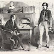 At The Desk, The Count Of Monte Christo, Alexandre Dumas Art Print