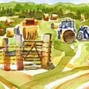 At The Farm Baling Hay Art Print