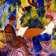 At The Garden Table Art Print by August Macke
