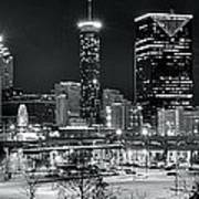 Atlanta Panoramic Black And White Art Print