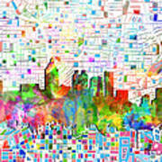 Atlanta Skyline Watercolor 3 Art Print