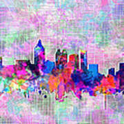 Atlanta Skyline Watercolor 4 Art Print