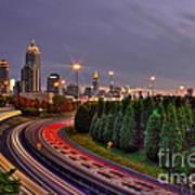 Atlanta Sundown Night Lights Art Art Print
