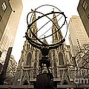 Atlas At Rockefeller Center Back Side Art Print