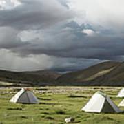 Atmospheric Grassy Camping Art Print
