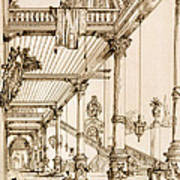 Atrium Of A Palace, In Genes, From Art Art Print