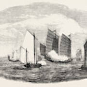 Attack On A Chinese Piratical Fleet By The Boats Of H Art Print