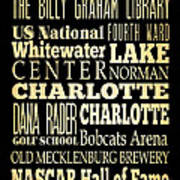Attractions And Famous Places Of Charlotte North Carolina Art Print by Joy House Studio