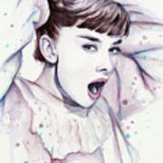 Audrey - Purple Scream Art Print