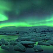 Aurora Borealis Above Jokulsarlon Art Print