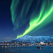 Aurora Borealis Over Tromso Port Art Print