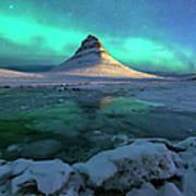 Aurora Over Kirkjufell Mountain Iceland Art Print